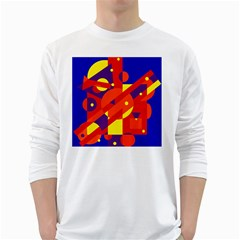 Blue and orange abstract design White Long Sleeve T-Shirts