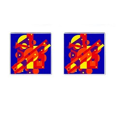Blue and orange abstract design Cufflinks (Square)