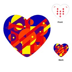 Blue and orange abstract design Playing Cards (Heart)