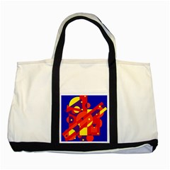 Blue and orange abstract design Two Tone Tote Bag
