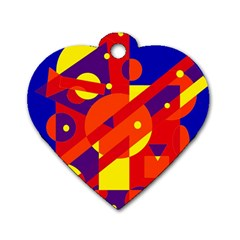 Blue and orange abstract design Dog Tag Heart (Two Sides)