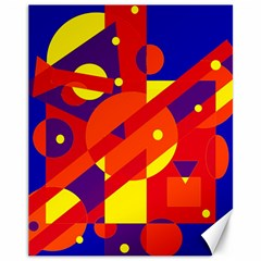 Blue and orange abstract design Canvas 11  x 14