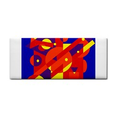 Blue and orange abstract design Hand Towel