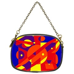 Blue and orange abstract design Chain Purses (One Side)