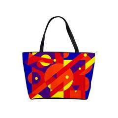 Blue and orange abstract design Shoulder Handbags