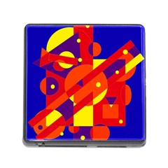 Blue and orange abstract design Memory Card Reader (Square)