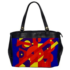 Blue and orange abstract design Office Handbags