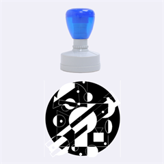 Blue and orange abstract design Rubber Round Stamps (Medium)