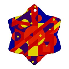 Blue and orange abstract design Snowflake Ornament (2-Side)