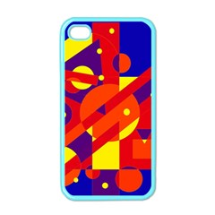 Blue and orange abstract design Apple iPhone 4 Case (Color)