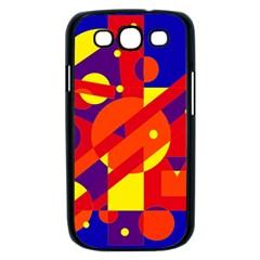 Blue and orange abstract design Samsung Galaxy S III Case (Black)