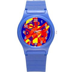 Blue and orange abstract design Round Plastic Sport Watch (S)