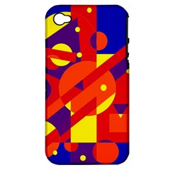 Blue and orange abstract design Apple iPhone 4/4S Hardshell Case (PC+Silicone)