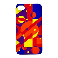 Blue and orange abstract design Apple iPhone 4/4S Hardshell Case with Stand