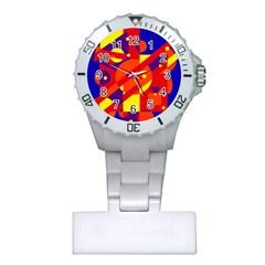 Blue and orange abstract design Plastic Nurses Watch
