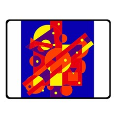 Blue and orange abstract design Double Sided Fleece Blanket (Small)