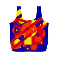 Blue and orange abstract design Full Print Recycle Bags (M)