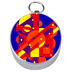 Blue and orange abstract design Silver Compasses