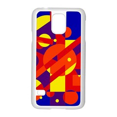 Blue and orange abstract design Samsung Galaxy S5 Case (White)