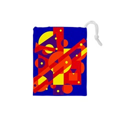 Blue and orange abstract design Drawstring Pouches (Small)