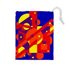 Blue and orange abstract design Drawstring Pouches (Large)