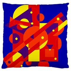 Blue and orange abstract design Large Flano Cushion Case (Two Sides)