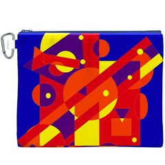 Blue and orange abstract design Canvas Cosmetic Bag (XXXL)