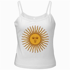 Argentina Sun of May  White Spaghetti Tank