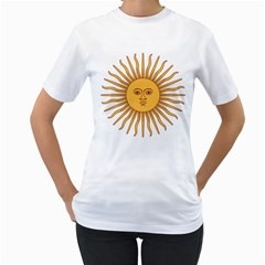 Argentina Sun of May  Women s T-Shirt (White) (Two Sided)