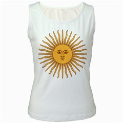 Argentina Sun of May  Women s White Tank Top