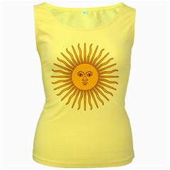 Argentina Sun of May  Women s Yellow Tank Top