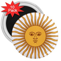 Argentina Sun of May  3  Magnets (10 pack)