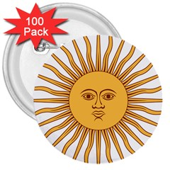 Argentina Sun of May  3  Buttons (100 pack)