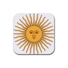 Argentina Sun of May  Rubber Square Coaster (4 pack)