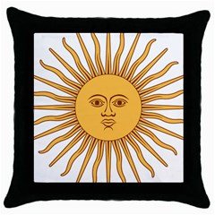 Argentina Sun of May  Throw Pillow Case (Black)