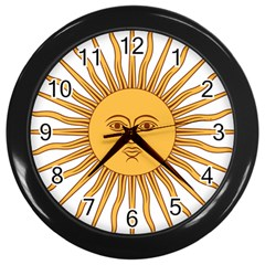 Argentina Sun of May  Wall Clocks (Black)