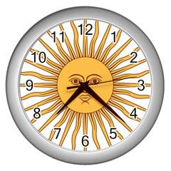 Argentina Sun of May  Wall Clocks (Silver)
