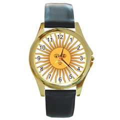 Argentina Sun of May  Round Gold Metal Watch