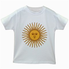Argentina Sun of May  Kids White T-Shirts