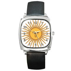 Argentina Sun of May  Square Metal Watch