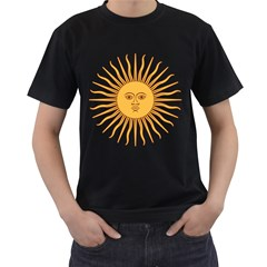 Argentina Sun of May  Men s T-Shirt (Black) (Two Sided)