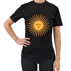 Argentina Sun of May  Women s T-Shirt (Black) (Two Sided)