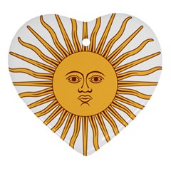 Argentina Sun of May  Heart Ornament (2 Sides)