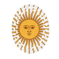 Argentina Sun of May  Oval Filigree Ornament (2-Side)