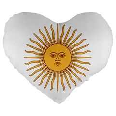 Argentina Sun of May  Large 19  Premium Heart Shape Cushions