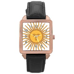 Argentina Sun of May  Rose Gold Leather Watch