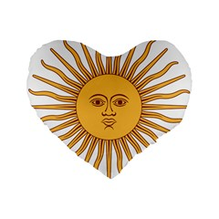 Argentina Sun of May  Standard 16  Premium Flano Heart Shape Cushions