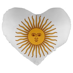 Argentina Sun of May  Large 19  Premium Flano Heart Shape Cushions