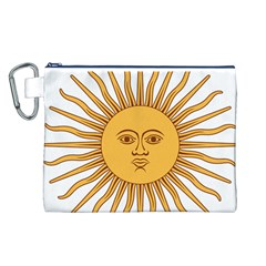 Argentina Sun of May  Canvas Cosmetic Bag (L)