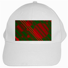 Red and green abstract design White Cap